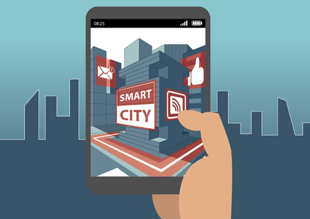 holding smart phone: Smart city and augmented reality concept with hand holding smartphone