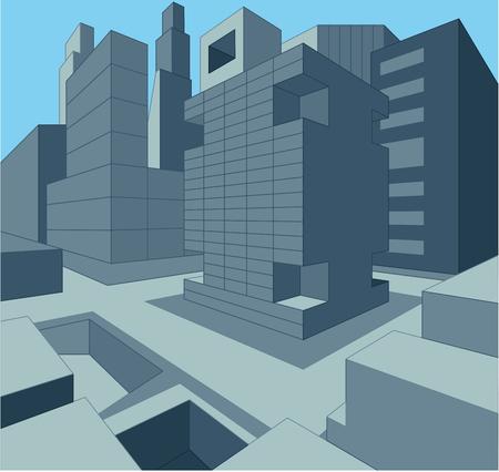 high rises: 3 dimensional urban cityscape as illustration Illustration