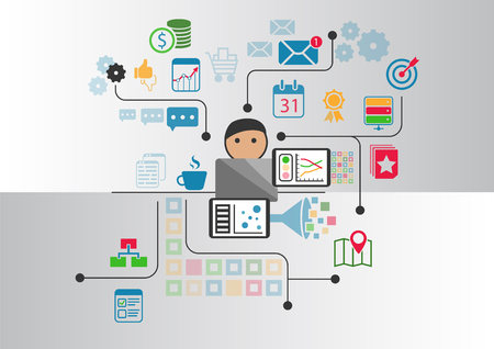 retrieved: Big data, analytics and business intelligence concept. Cartoon person connected to data and information retrieved from the internet