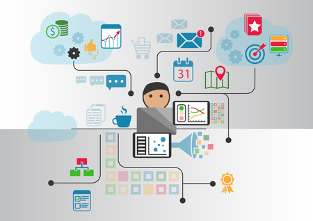 private cloud: Cloud computing concept as  illustration. Cartoon person connected to the cloud via notebook and other smart devices