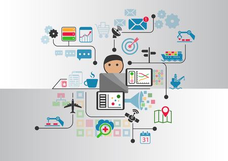 industry: Industrial internet or industry 4.0 vector background with person controlling connected objects from notebook