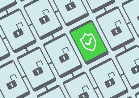 operating key: Mobile security concept vector illustration with multiple secure and unsecured smart phones