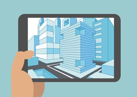 touch screen: Vector illustration of hand holding modern tablet or smart phone with 3D view of a city Displayed on touch screen Illustration