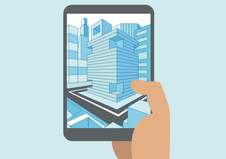 urbane: Vector illustration of hand holding modern tablet or smart phone with 3D view of a city Displayed on touch screen Illustration