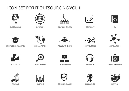 Various IT outsourcing and offshore model r icons for a global  model