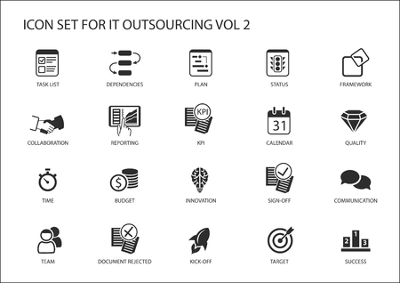 Various IT outsourcing and offshore model icons for a global model