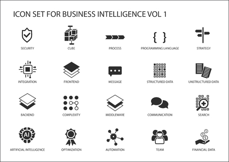 unstructured: Business intelligence (BI) vector icon set