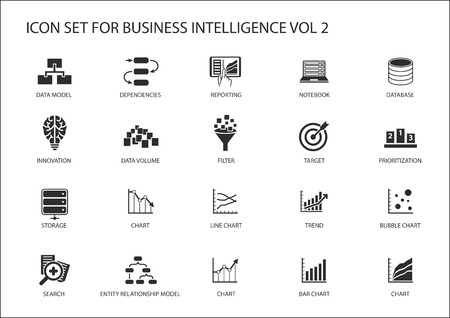 set: Business intelligence (BI) vector icon set