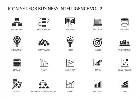 Business Intelligence (BI) zestaw ikon wektorowych