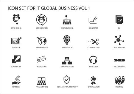 Global business vector icon set