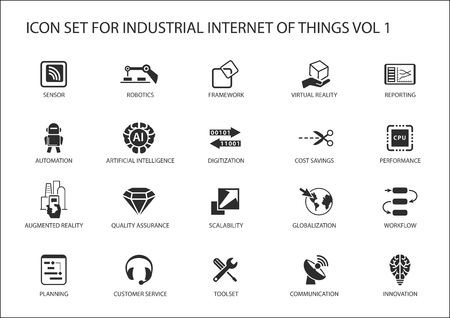 Industrial internet of things vector icon set Stock Illustratie