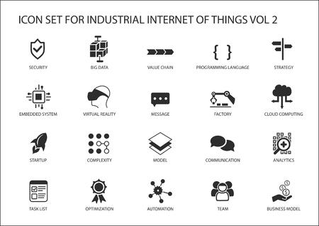 Internet industrial de conjunto de iconos de vector de cosas