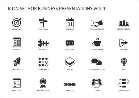 ビジネス プレゼンテーションや旗のデザインとスライドの再利用可能な汎用ベクトル アイコンを設定  イラスト・ベクター素材