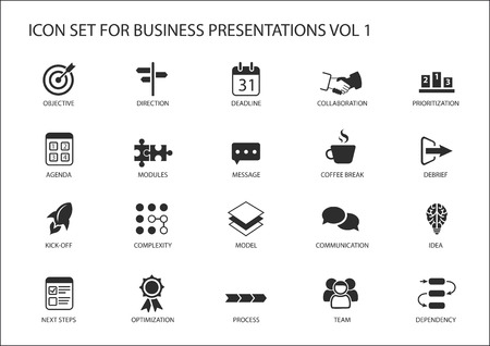 prioritization: Reusable generic vector icon set for business presentations and slides with flag design Illustration