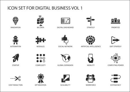 vecteur d'entreprise numérique icon set