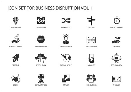 Digital business disruption icon set