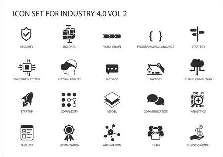 Conjunto de iconos reutilizable para la industria 4.0 Foto de archivo - 69253876