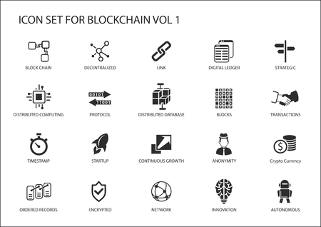Block Chain vector icon set 矢量图像