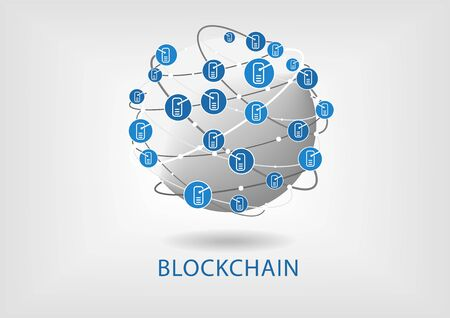 Block Chain vector illustration with connected globe on light gray background