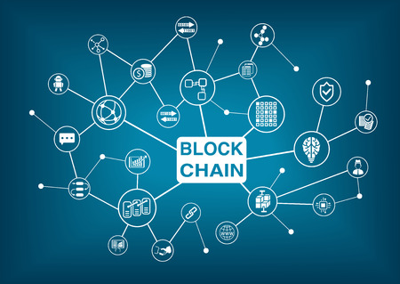 Block Chain woord met pictogrammen als vector illustratie Stock Illustratie