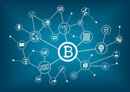 Bitcoin vector illustration with dark blue background Illustration