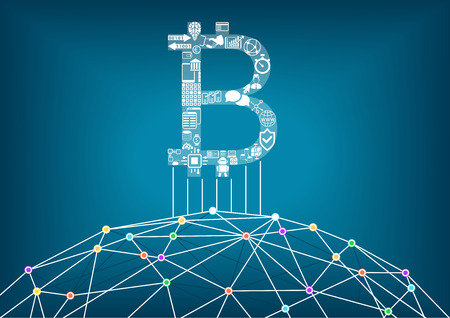 distributed: Bitcoin vector illustration background with connected internet as in example for crypto currencies and block chain technology Illustration