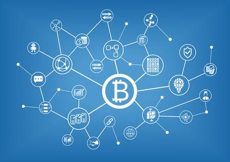 Sfondo di illustrazione vettoriale di Bitcoin Vettoriali