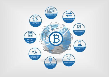 Bitcoin und Krypto-Währung Vektor-Illustration Standard-Bild - 69587629