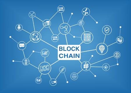 Block Chain vector illustratie achtergrond Stock Illustratie