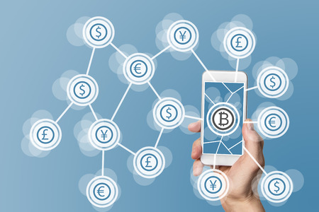 Block Chain and bitcoin technology and mobile computing concept on blue background