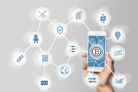 Block Chain and bitcoin concept Visualized by mobile phone and gray background