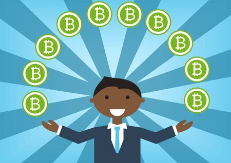 for example: Bitcoin millionaire vector illustration as example for success in technology industry Illustration