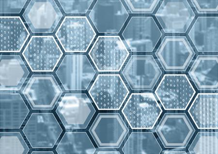 Block Chain of digitalisering blauwe en grijze achtergrond met zeshoekige patroon