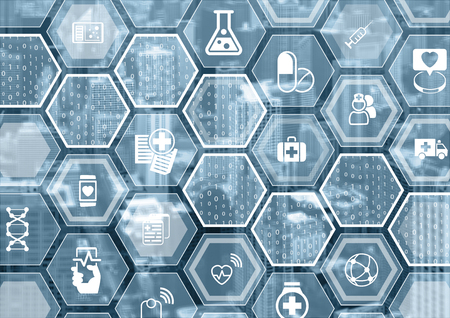 Electronic e-healthcare blue and gray background with hexagonal shapes