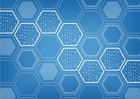 digitization: Block Chain blue vector background with hexagonal shaped pattern