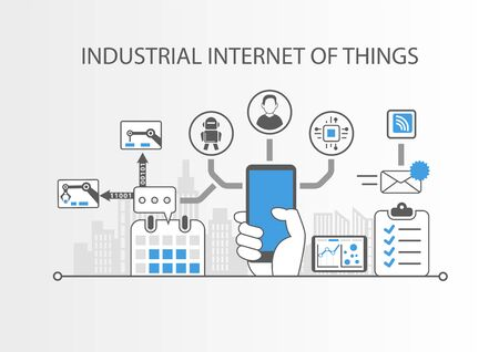 industrial industry: Industrial Internet of things or industry 4.0 concept with simple icons on gray background Illustration