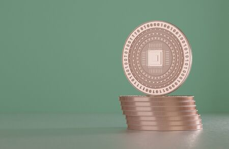 savety: Stack of copper coins as example for virtual crypto currency, bitcoin block chain and technology