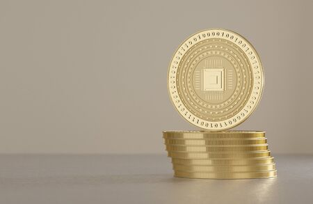 savety: Stack of silver coins as example for virtual crypto currency, bitcoin block chain and technology