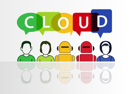 globally: Cloud computing and automation concept with text Illustration