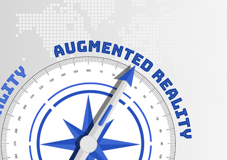 towards: Compass pointing towards text Augmented Reality Illustration