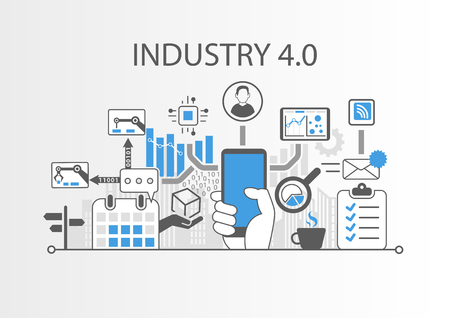 Industry 4.0 vector illustration background as Example for Internet of things technology Illusztráció