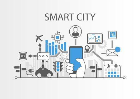 Smart city vector background Иллюстрация