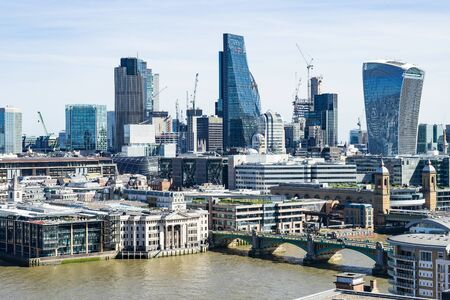 downtown district: London - March 30: London financial district downtown skyline with river Themse on March 30, 2017.