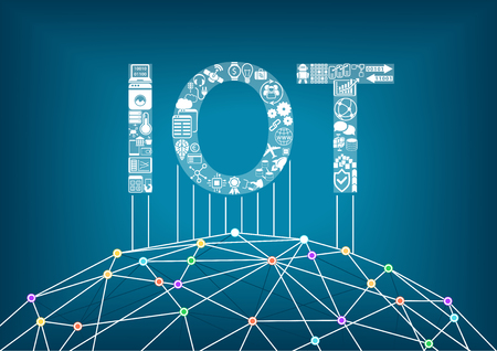 Internet of Things and IOT concept. Connect global wireless devices with each other.