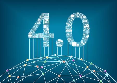 Industria 4.0 e Internet industrial del concepto de las cosas con la ilustración del vector de un mundo digital conectado