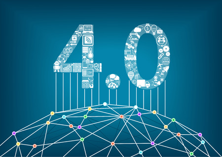Industria 4.0 e internet industriale delle cose concetto con illustrazione vettoriale di un mondo digitale collegato