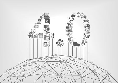 Textile de l'industrie 4.0 comme concept d'Internet industriel des choses