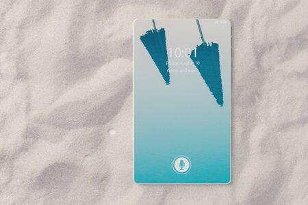 オンライン旅行予約の概念として、ビーチの砂の上に横たわってベゼル無料スマート フォンの 3 D イラストレーション