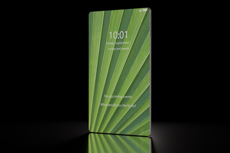 Next generation smartphone render with bezel less  bezel free touch screen standing upright on black background Stock Photo