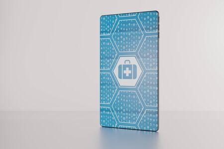 Electronich ヘルスケア未来ベゼル無料スマート フォンに表示の 3 D イラストレーション。